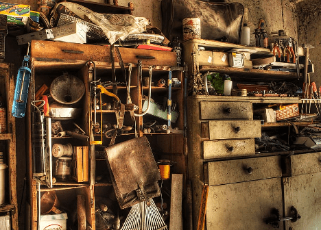 A photo of the garage in a hoarder's home.