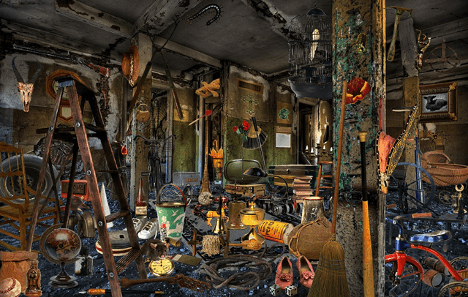 A distressed hoarder home.