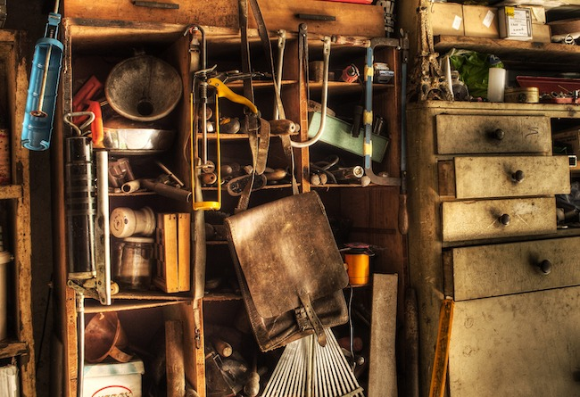 The inside of a hoarder's garage.